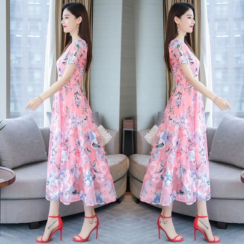 Women Summer Short Sleeve Flower Pattern Casual Long Dress Pink_L