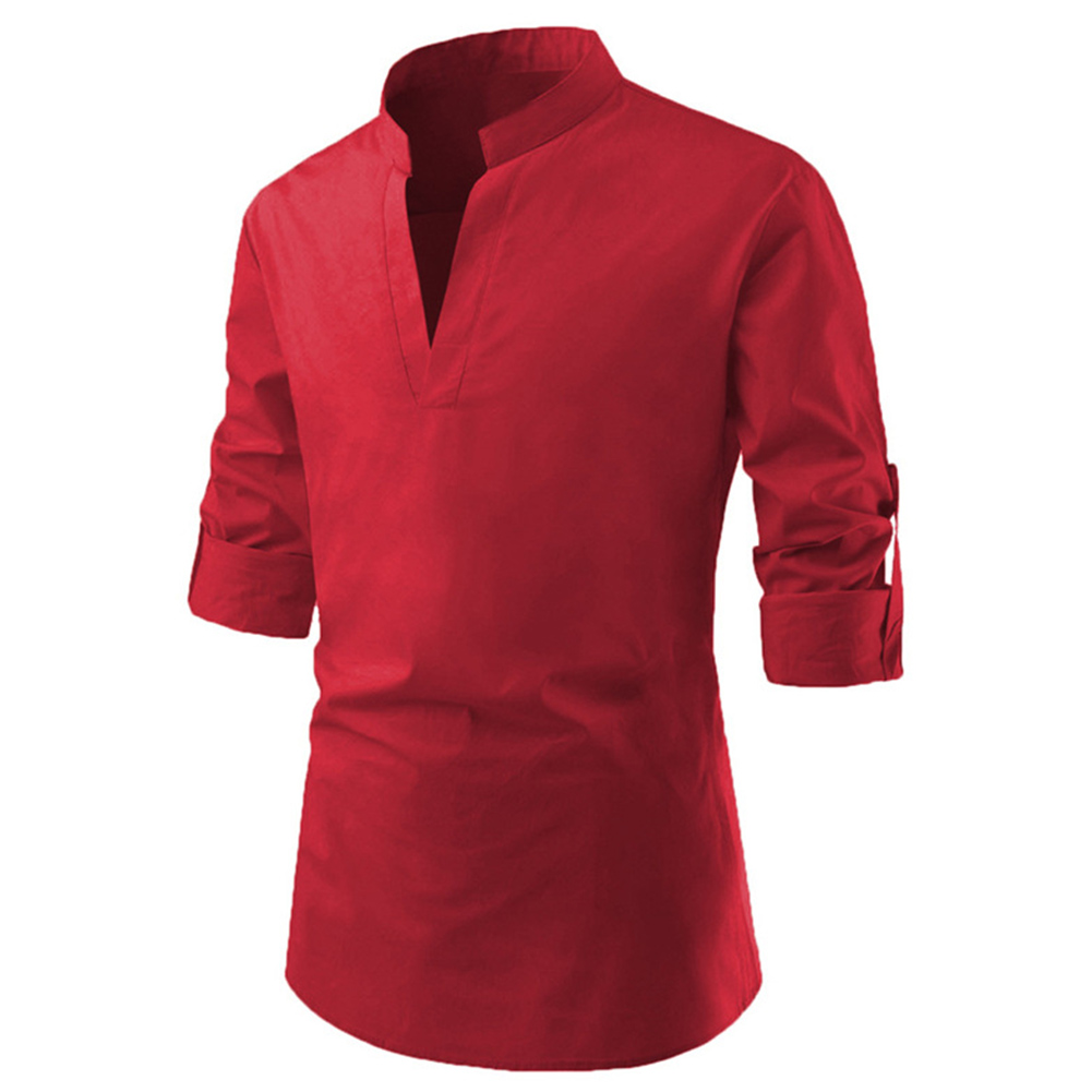 Men Solid Color Pullover Stand Collar Long Sleeve Casual Shirt red_XL