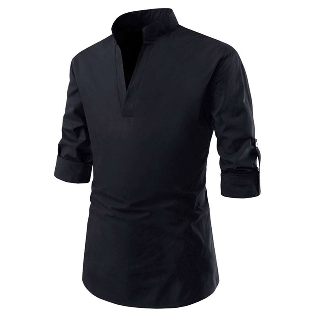 Men Solid Color Pullover Stand Collar Long Sleeve Casual Shirt black_XL