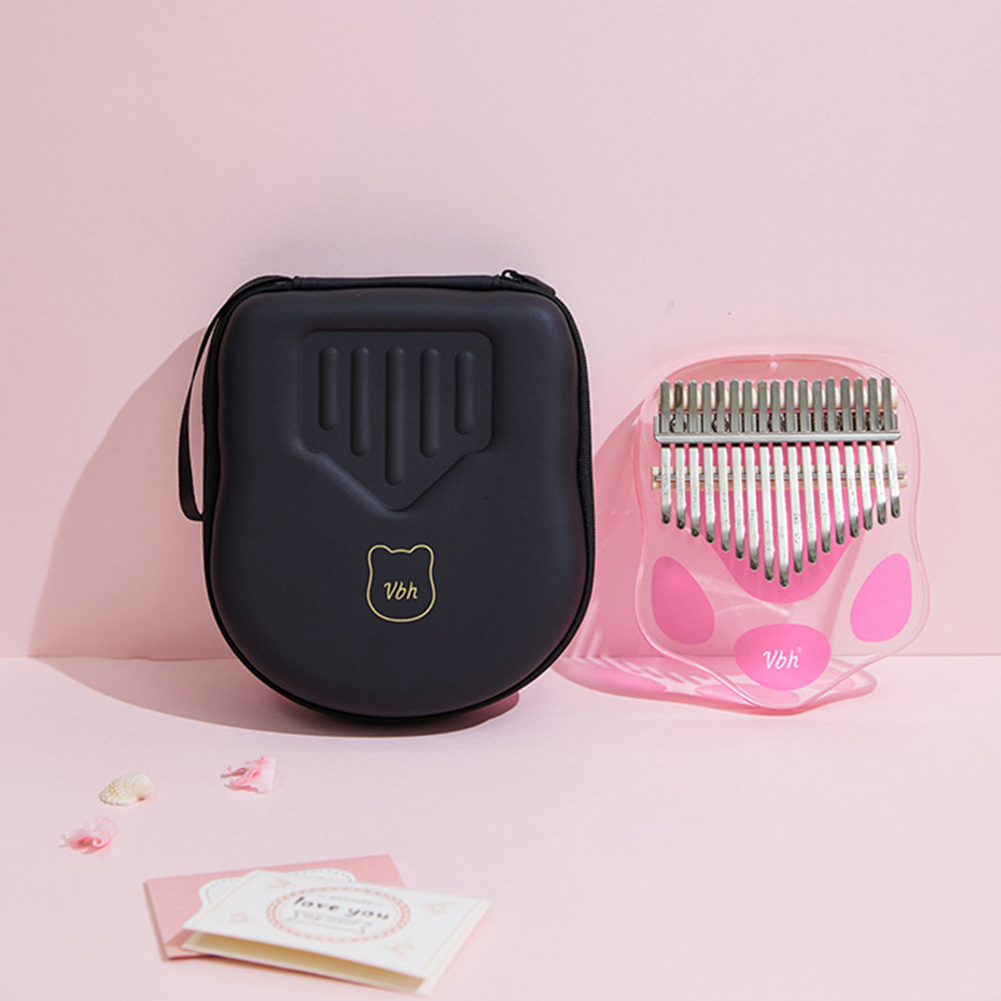 17 Keys Kalimba Thumb Piano Cat Paw Portable Transparent Acrylic Mbira with Tuning Hammer Bag Pink_17 key cat claw VBH