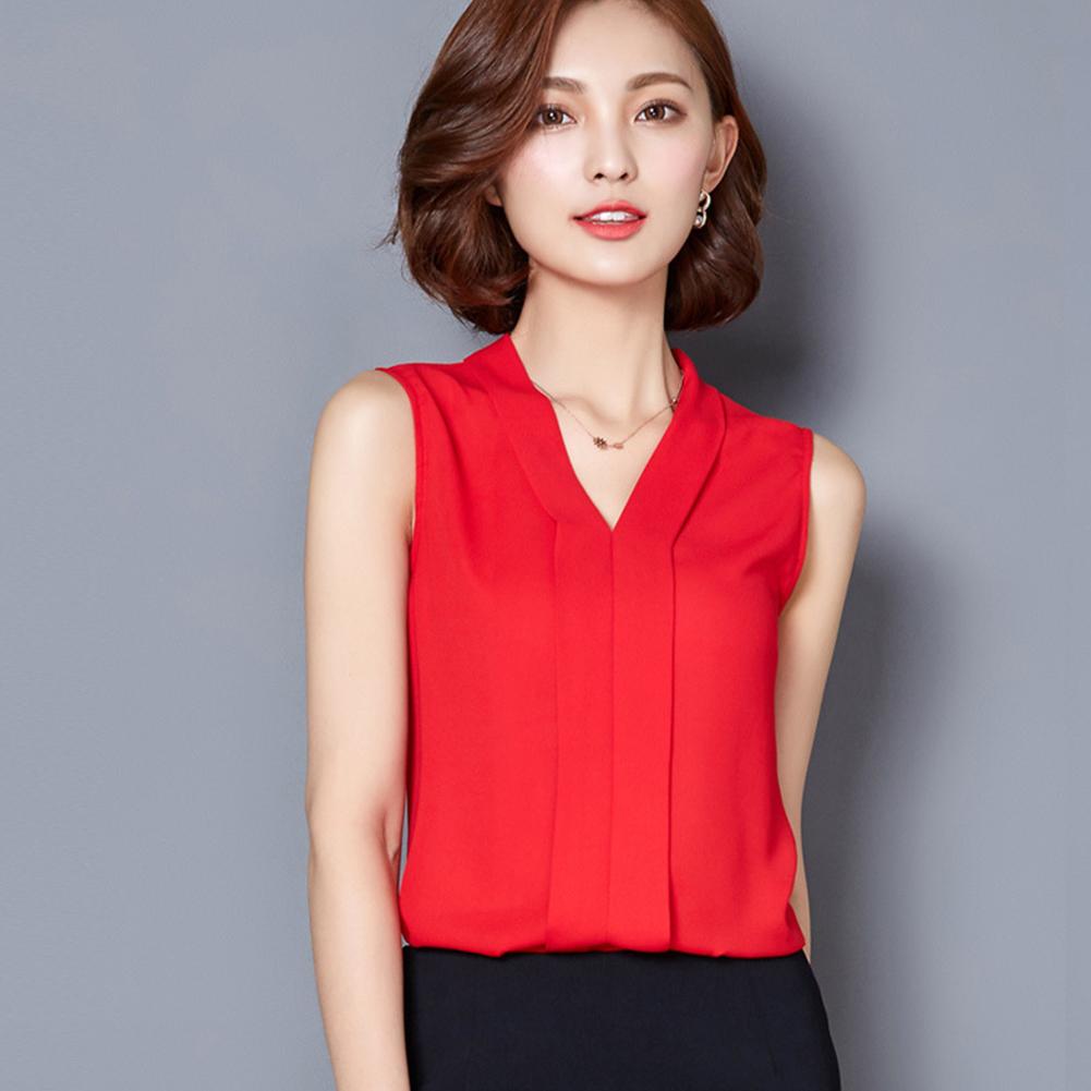 Women Large-size Chiffon Blouse V-neck T-shirt XFS2-red_S