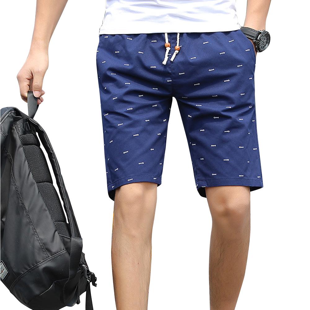 Men Cotton Middle Length Trousers Baggy Fashion Slacks Sport Beach Shorts Navy (fish bone)_XXL
