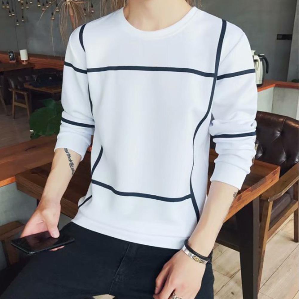 Men Autumn Fashion Slim Long Sleeve Round Neckline Sweatshirt Tops D108 white_M