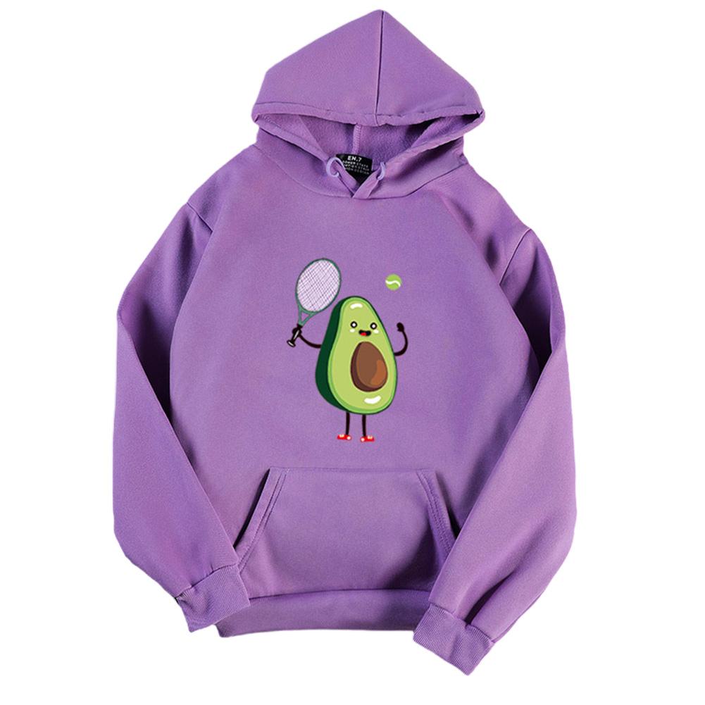 Men Women Hoodie Sweatshirt Cartoon Avocado Thicken Autumn Winter Loose Pullover Tops Purple_M