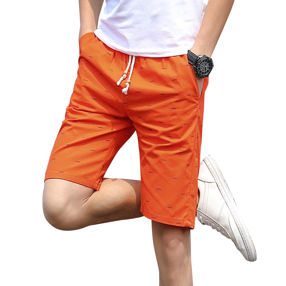 Men Cotton Middle Length Trousers Baggy Fashion Slacks Sport Beach Shorts Orange (fish bone)_XXL