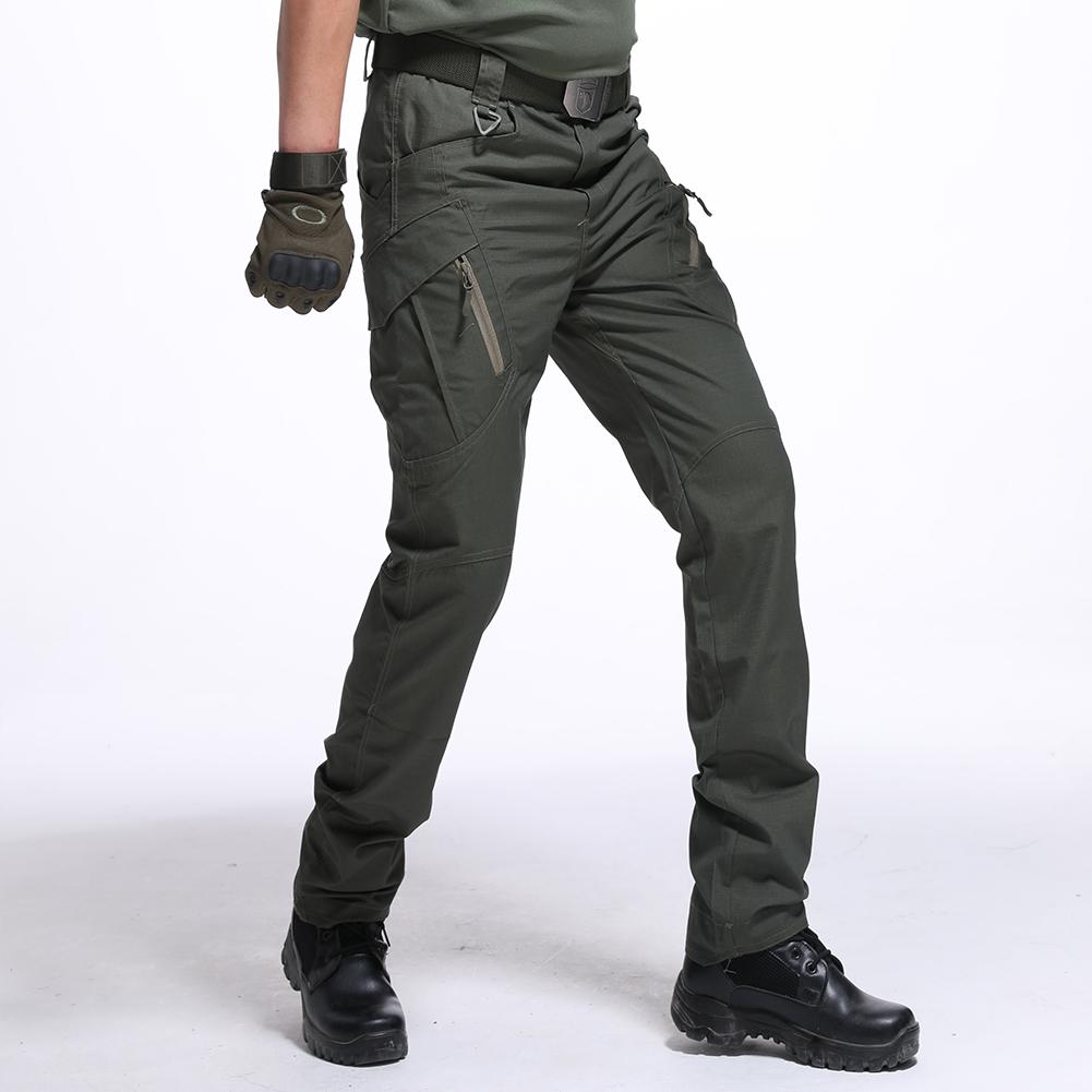 Men Wear-resistant Sport Zipper Trousers Casual Trousers Pants  Green ix9 waterproof_XL