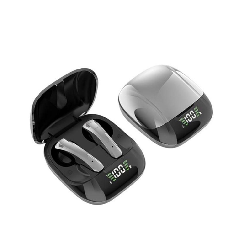 E68 Wireless Bluetooth Headset Sport Tws Waterproof Mini Wireless Earphone Digital Display Stereo Music Silver