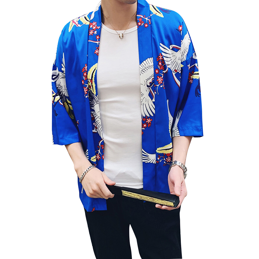 Men Women Classic Shirts Three Quarter Sleeve Pattern Printing Thin Blouse  8892 blue_M