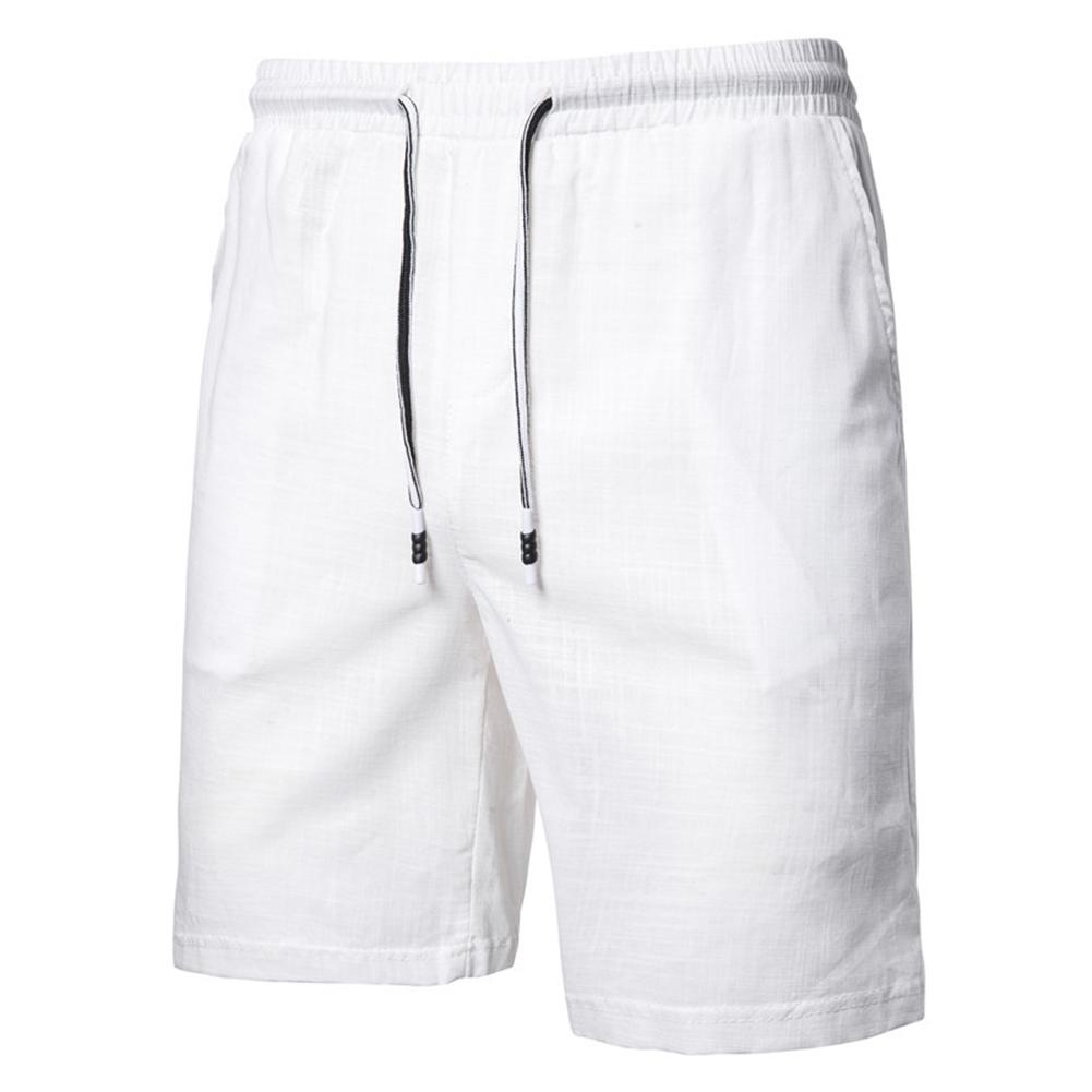 Men Beach Shorts Straight Tube Shape Flax Solid Color Shorts  white_L