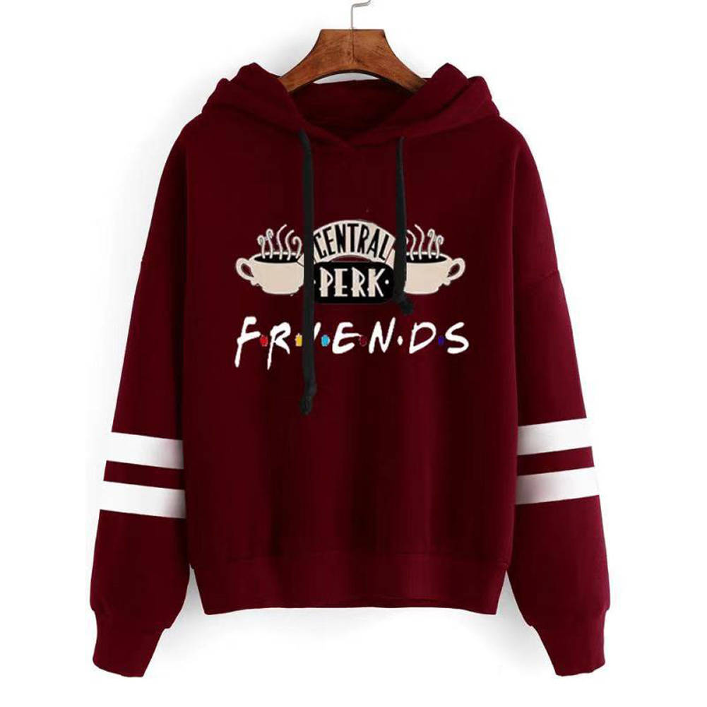 Women Autumn Winter American Drama FRIENDS Long Sleeve Striped Print Hoodie Red wine_XL