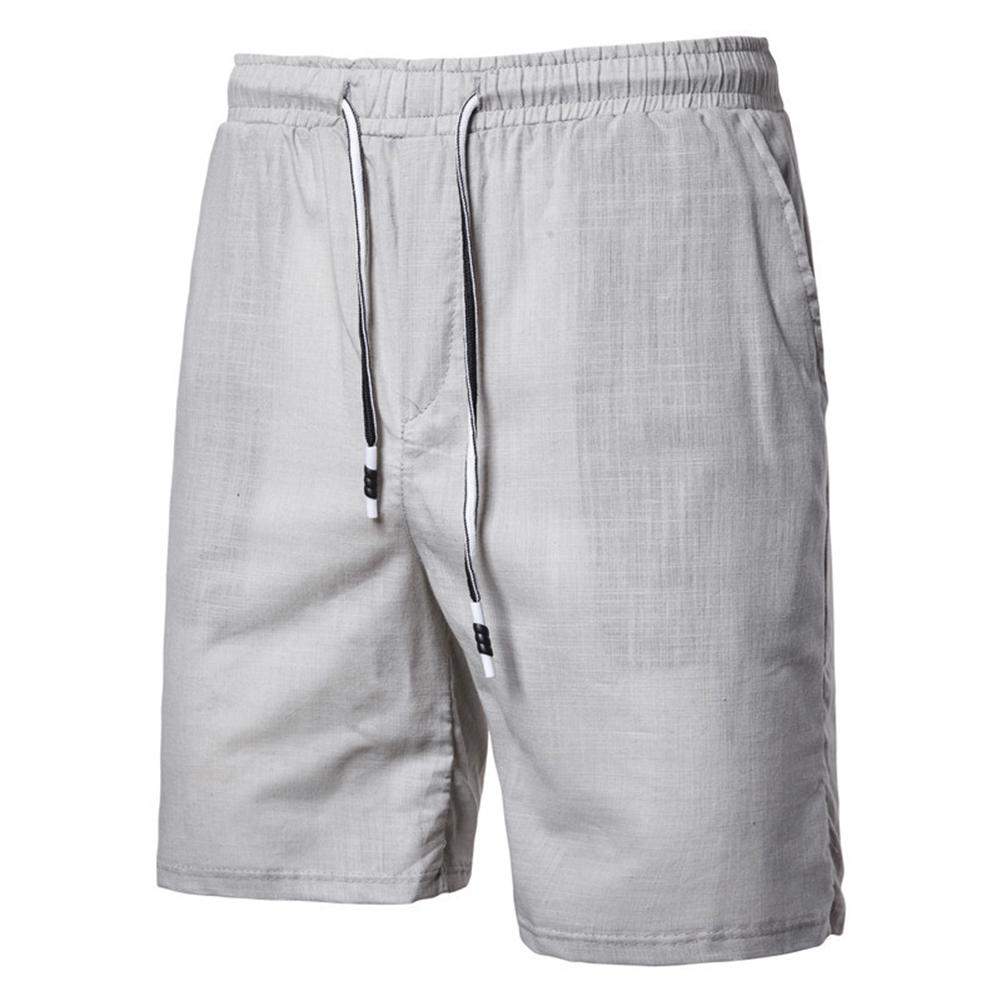 Men Beach Shorts Straight Tube Shape Flax Solid Color Shorts  gray_L