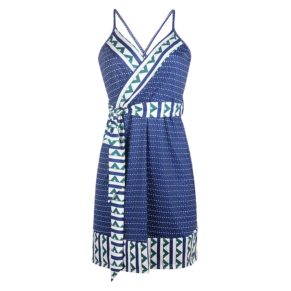 Women Summer Fashion Maternity Printed Sling Pregnant  Bohemian Style Dress Navy_M