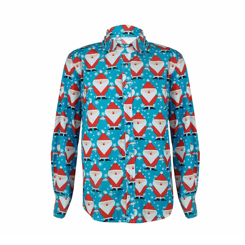 Christmas Cartoon Printing Male Lapel Shirt Men Blouse Shirt for Man Light blue_XL