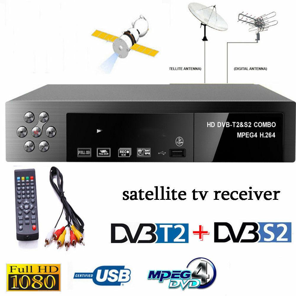 Smart Digital Satellite TV Receiver DVB-T2+DVB-S2 FTA 1080P Decoder Tuner MPEG4 EU plug