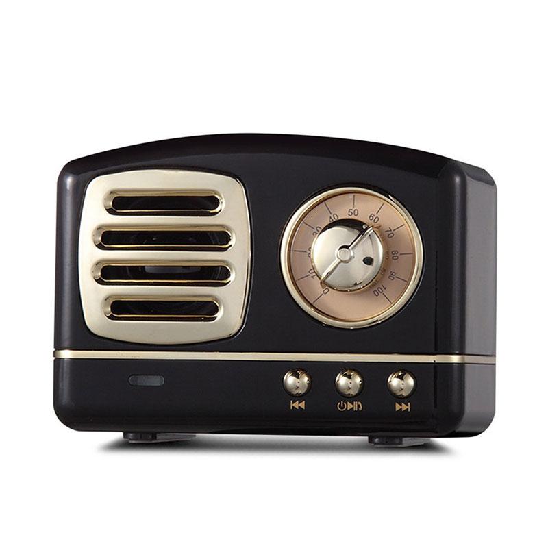 Retro Hifi Stereo Bluetooth V4.1 Speaker Portable Wireless Vintage Speaker Built-in Mic Support Memory Card black
