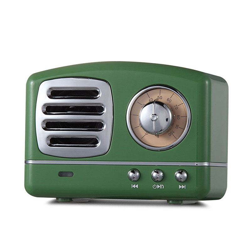 Retro Hifi Stereo Bluetooth V4.1 Speaker Portable Wireless Vintage Speaker Built-in Mic Support Memory Card green