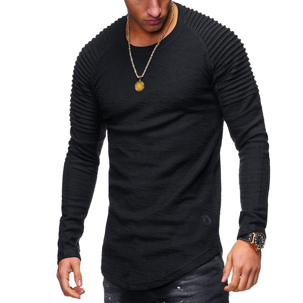 Men Slim Fit O Neck Long Sleeve Muscle Shirt Casual Solid Color Tops Blouse black_M