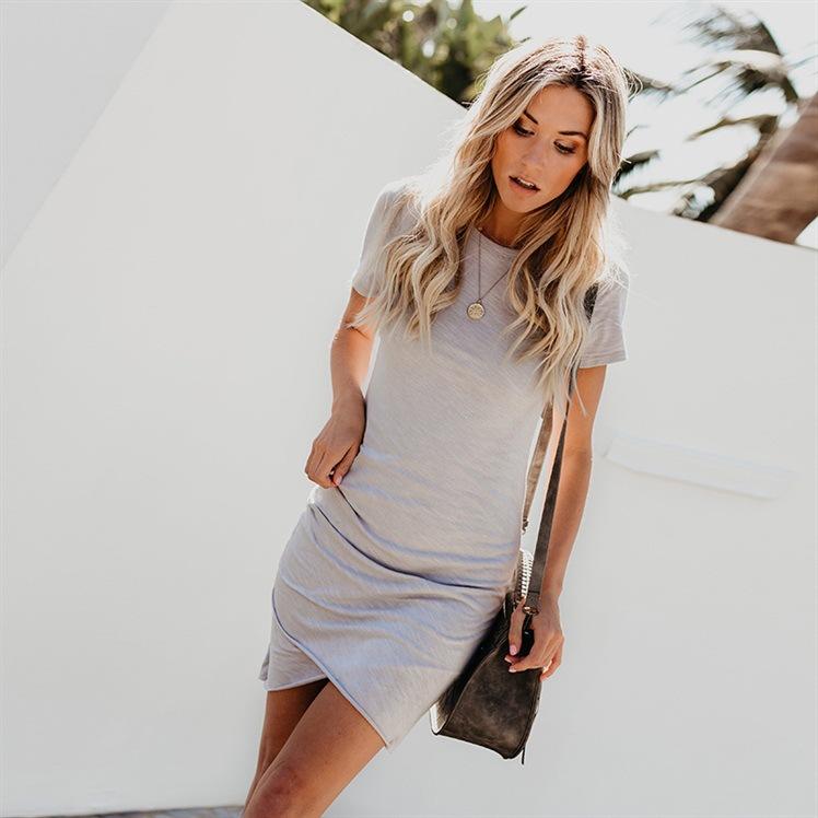 Women Summer Sexy Round Collar Slim Short Sleeve Dress