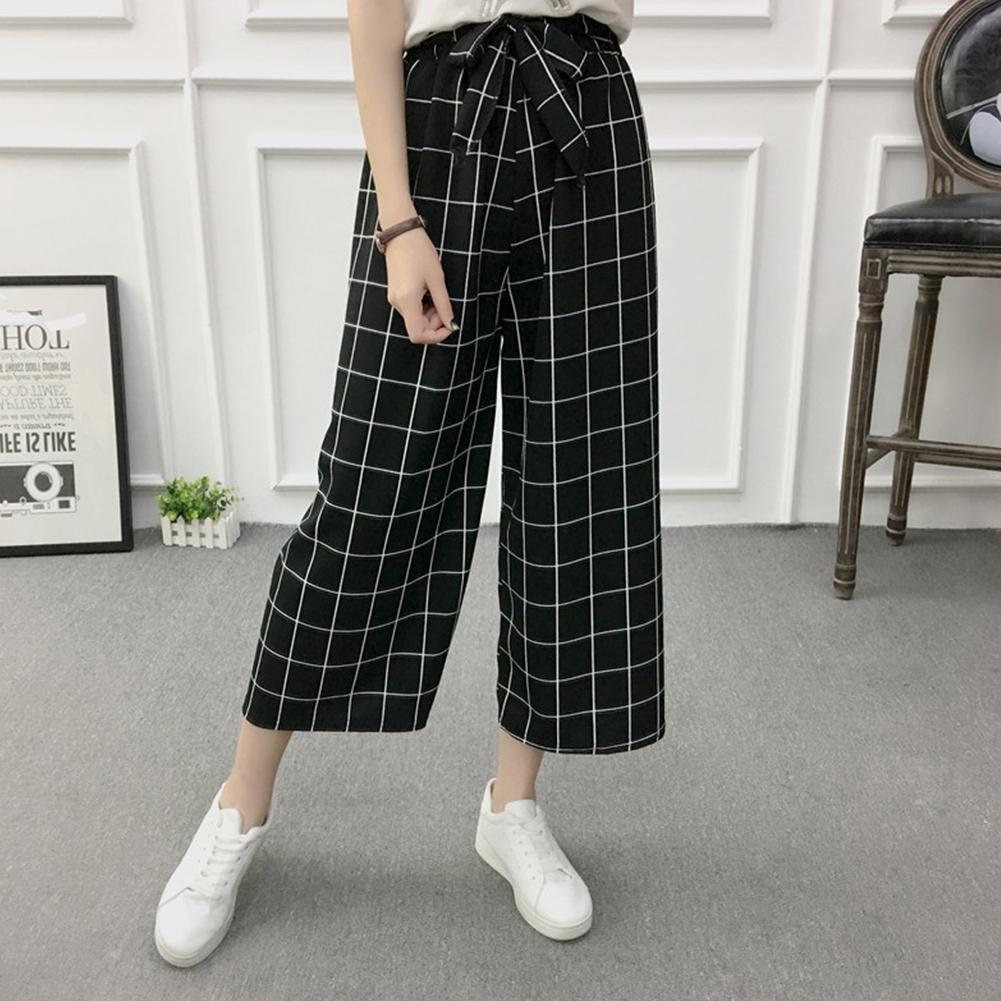 Women Black High Elastic Waist Ninth Loose Pants for Summer Wear Large lattice_One size