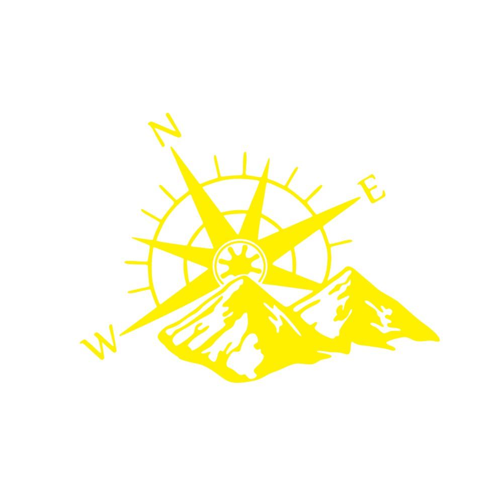 Car Hood Sticker Compass Mountains Sticker Large Decal Camper Van Motorhome Wall Art Vinyl yellow