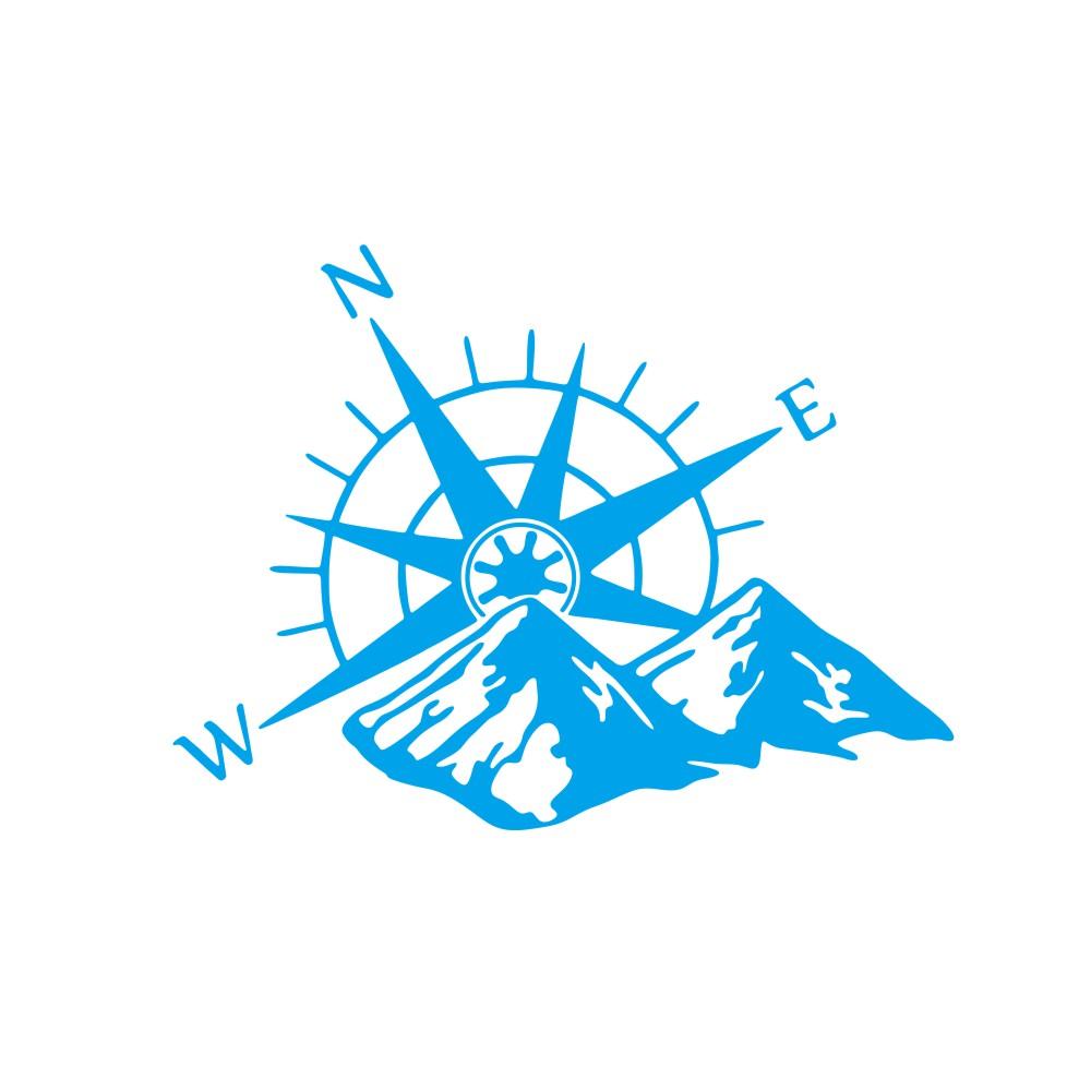 Car Hood Sticker Compass Mountains Sticker Large Decal Camper Van Motorhome Wall Art Vinyl  blue