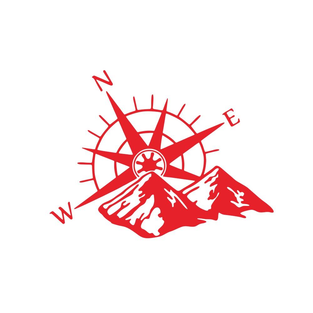 Car Hood Sticker Compass Mountains Sticker Large Decal Camper Van Motorhome Wall Art Vinyl  red