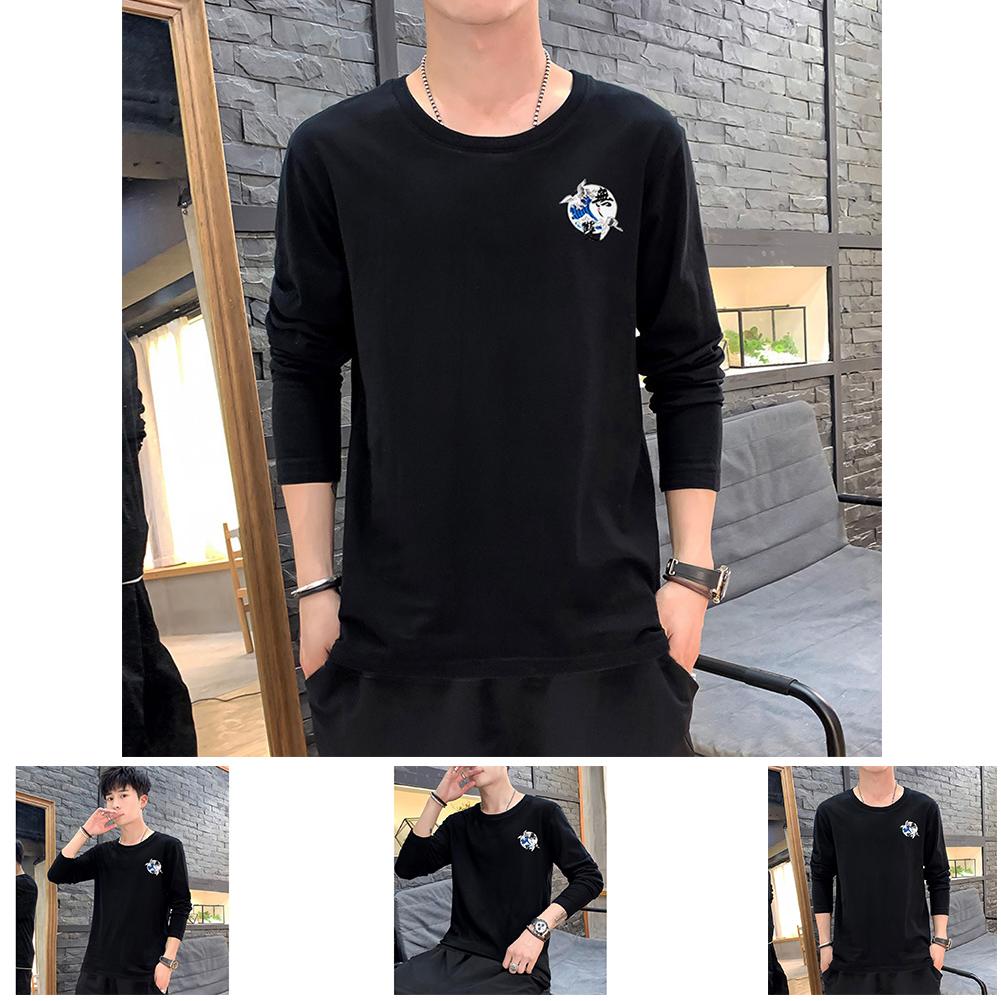 Men Autumn and Winter Long Sleeve Round Neckline Print Solid Color Cotton T-Shirt Tops black_XXL