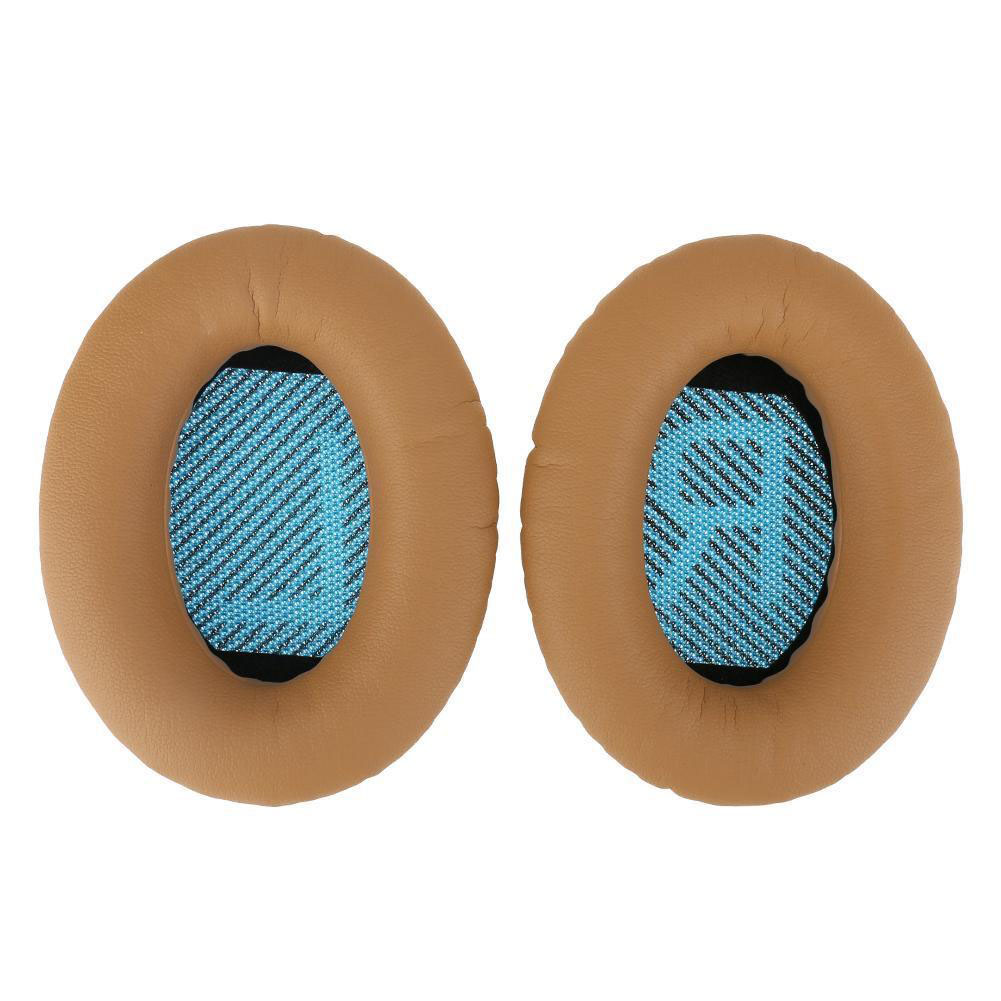 Replacement Ear Pads Soft Leather Cushions for Bose QuietComfort QC35 Headphones Tawny + blue