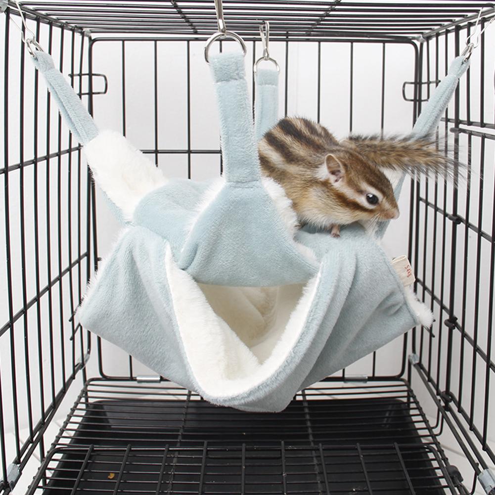 Cute Mini Small Animal Pet Hamster House Nest Warm Sleeper Hammock Rabbit Hedgehog Pet Sleeping Log Cabin Animal Sleeping House Supplies Toy S_Blue