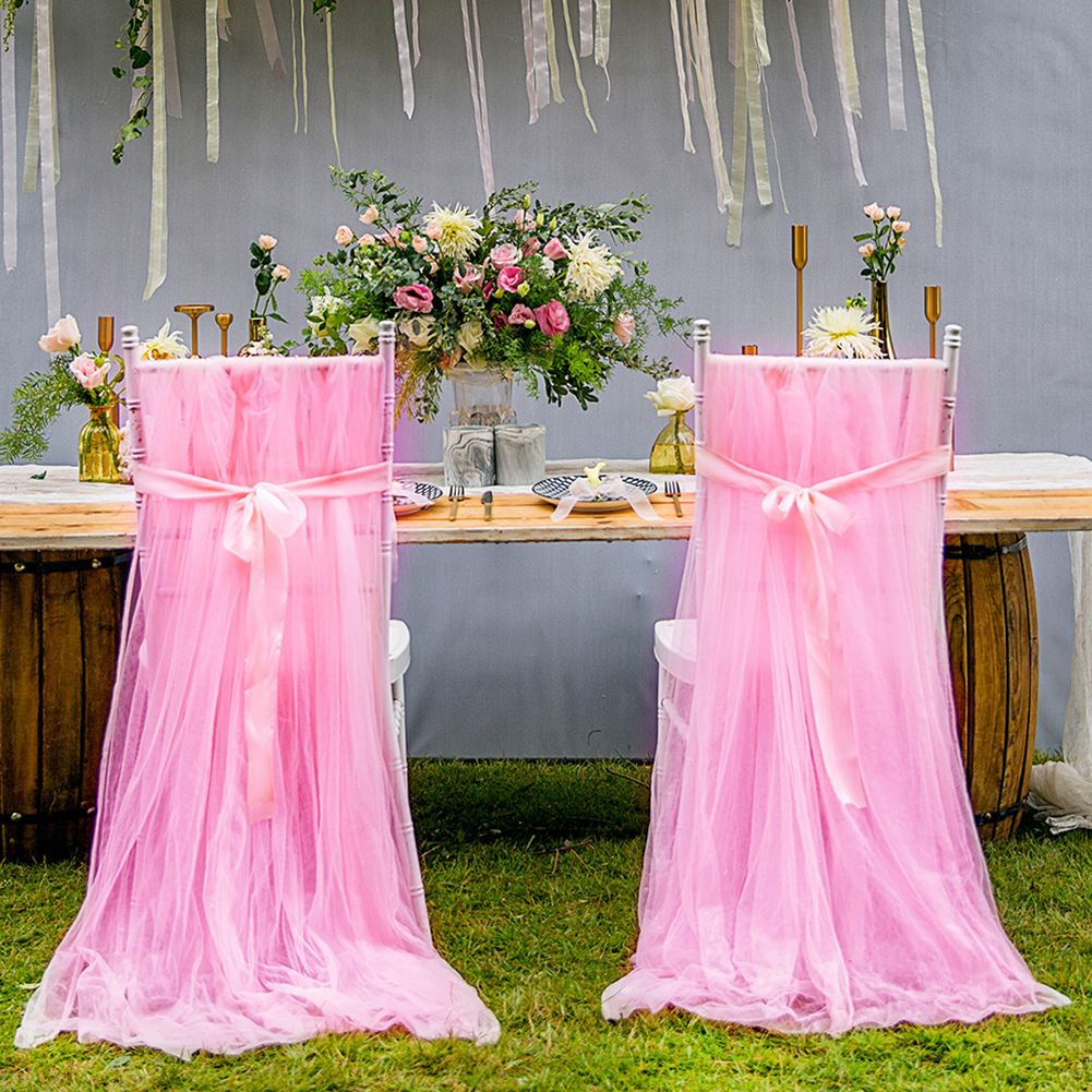 Tulle Chair Cover Fluffy Tutu Chair Skirt with Ribbon for Bridal Shower Wedding Party Decoration Pink