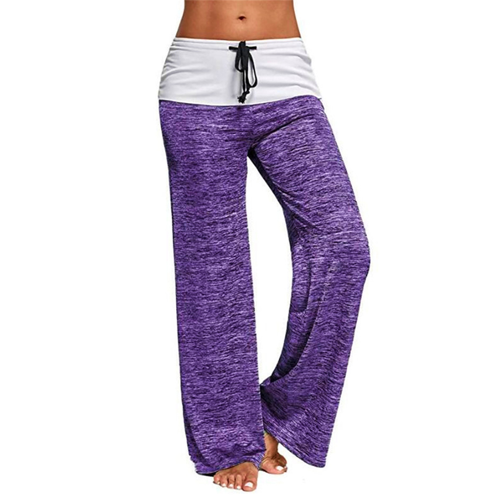 Women Casual Loose Pants Wide Trouser Legs for Yoga Sports  purple_M