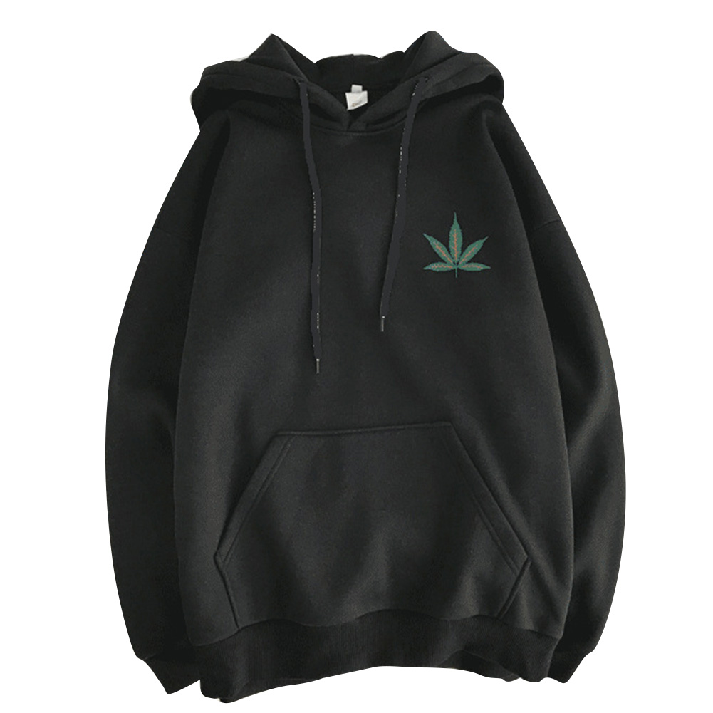 Men Women Hoodie Sweatshirt Maple Printing Simple Fashion Loose Pullover Tops Black_M