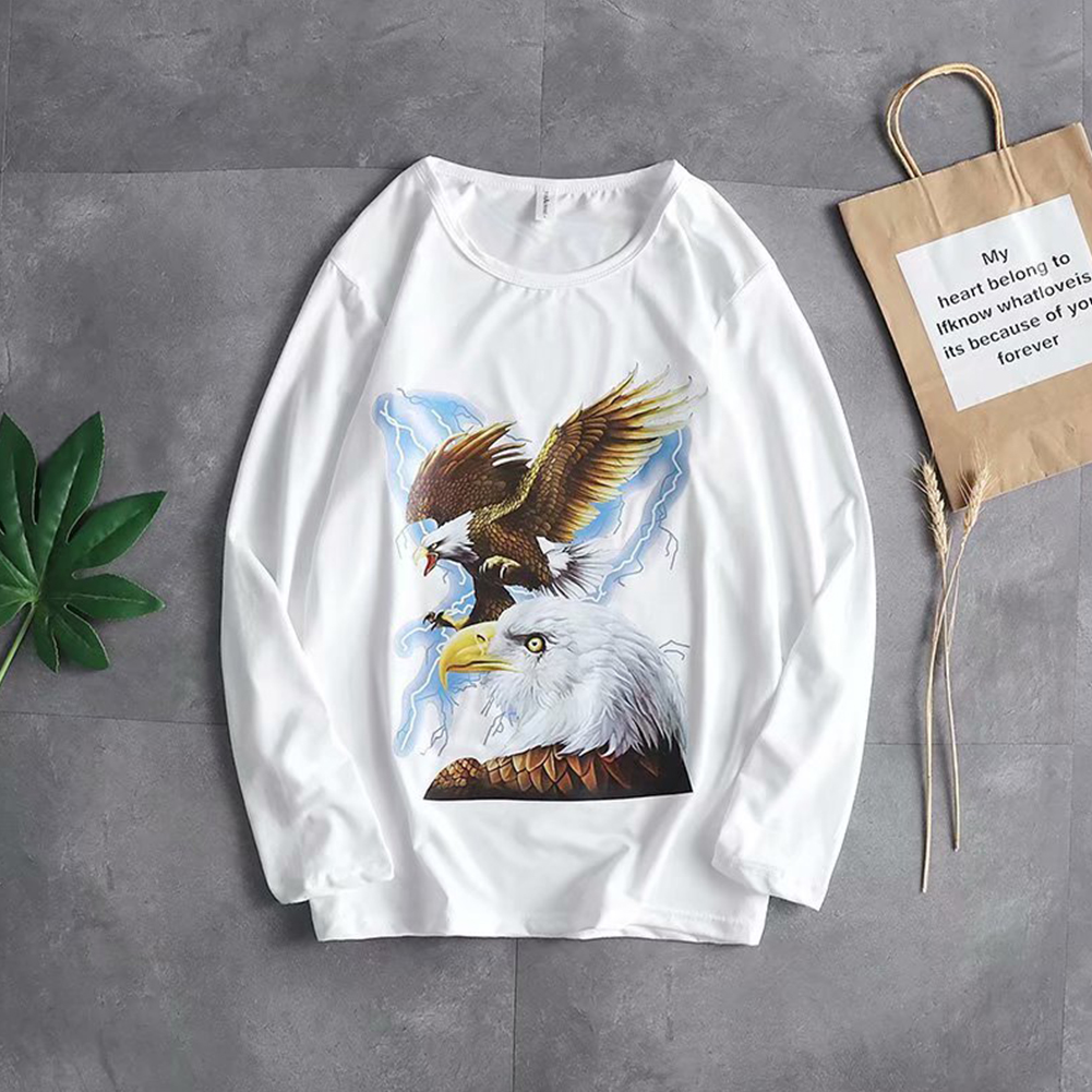 Long Sleeves and Round Neck Top Male Loose Sweater Pullover with Unique Pattern Decor 720 white_L