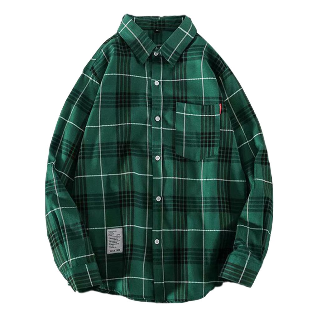 Men's Shirt Casual Long-sleeved Lapel Plaid Pattern Slim Shirt Green_M