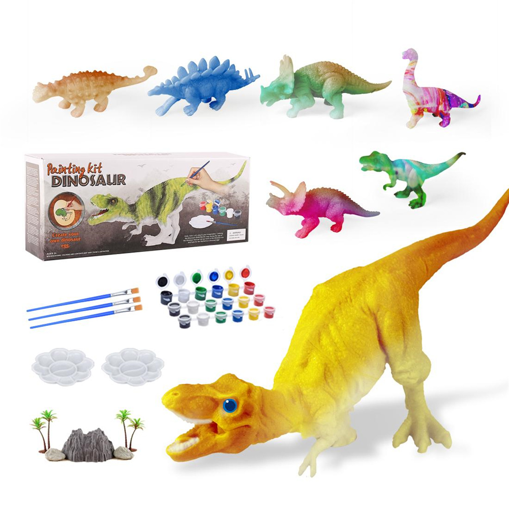 [US Direct] Dinosaur  Painting  Toys Colorful Art Craft Dinosaur Figures Diy Creative Educational Toys For Kids Colorful