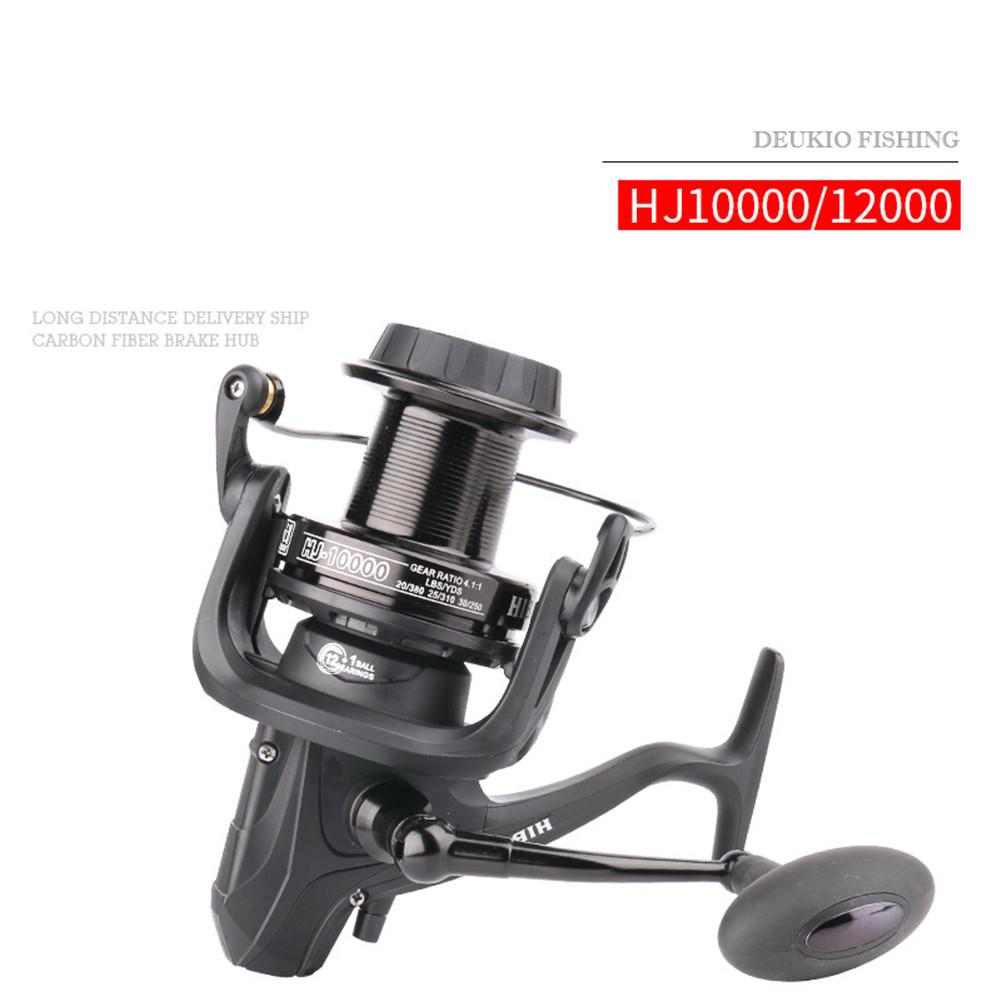 Hj10000/Hj12000 Fishing Reel 12+1 Long Shot Wheel Carbon Spinning Wheel Fishing Accessories HJ10000
