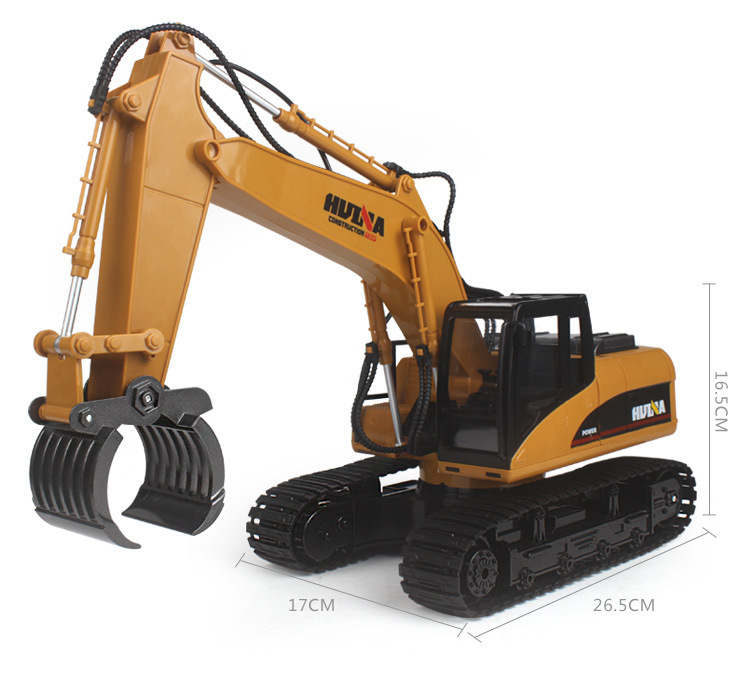 2.4ghz 16ch Rc Alloy Log  Grabbing  Machine With Independent Arms Rc Log Grabber 360 Degree Spin Tank Tread Trunk Huina 1570 1:14 yellow