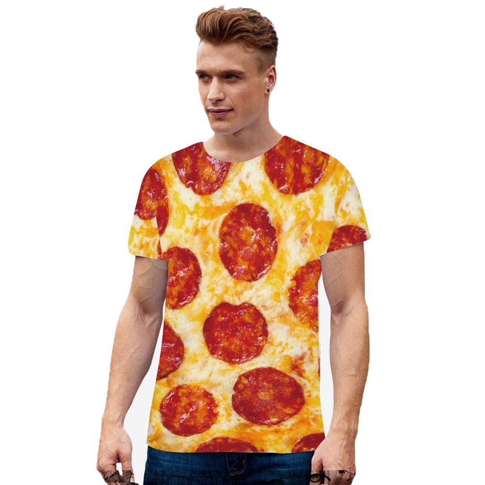 Men Women 3D Digital Gourmet Print Short-sleeved Round Collar T-shirt