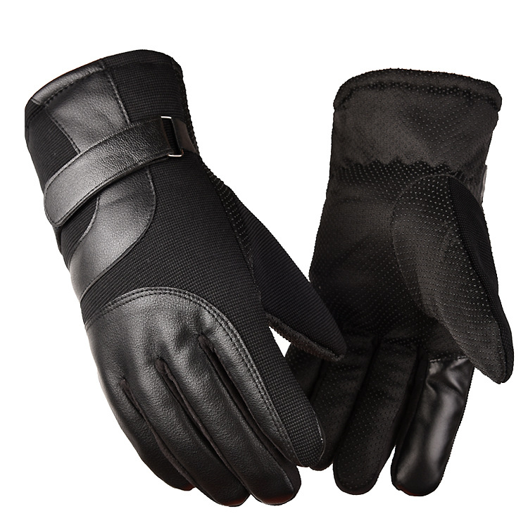 Cold-proof Motorcycle Gloves Anti Slip Winter Reflective Windproof Gloves Cycling Fluff Warm Gloves For Touchscreen black_L