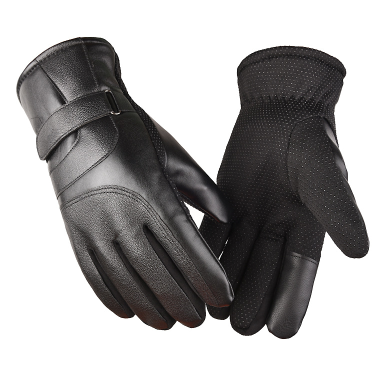 Cold-proof Motorcycle Gloves Anti Slip Winter Reflective Windproof Gloves Cycling Fluff Warm Gloves For Touchscreen Full leather black_L