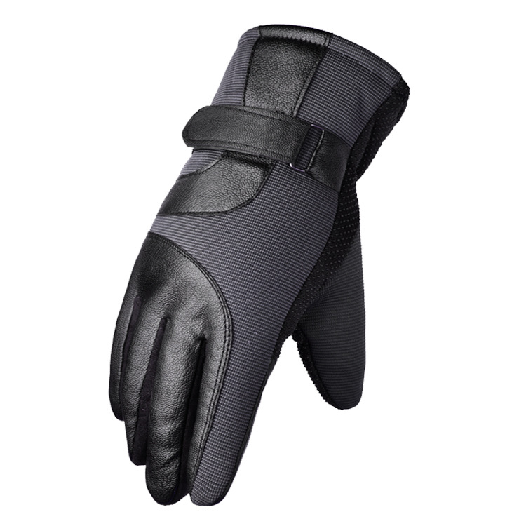 Cold-proof Motorcycle Gloves Anti Slip Winter Reflective Windproof Gloves Cycling Fluff Warm Gloves For Touchscreen gray_M