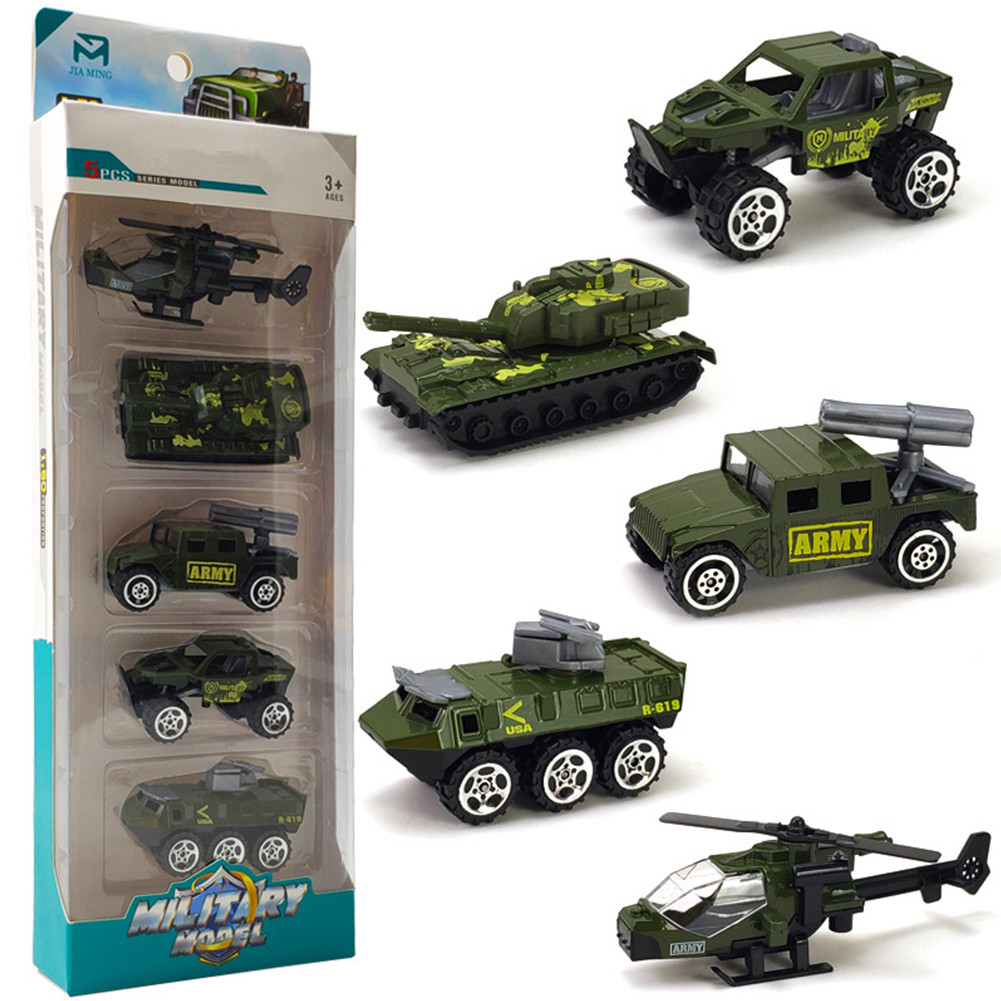 5Pcs/Set Pull Back Car Mold Toys Alloy Military Vehicle Car Model Kids Children Car Playing Toys