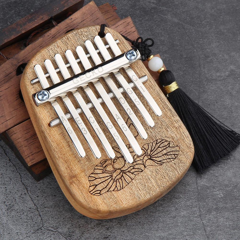 GECKO 8 Keys Finger Kalimba Thumb Piano Portable Beginners Keyboard Marimba Wood Musical Instrument  Toon Wood [K-8CA]