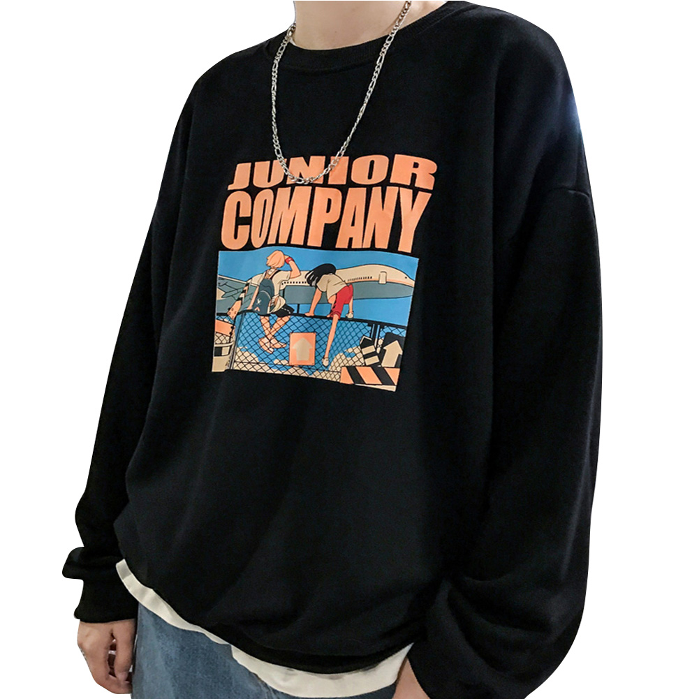Fashion Students Lovers Round Collar Loose SweatshirtsCcoat black_XL