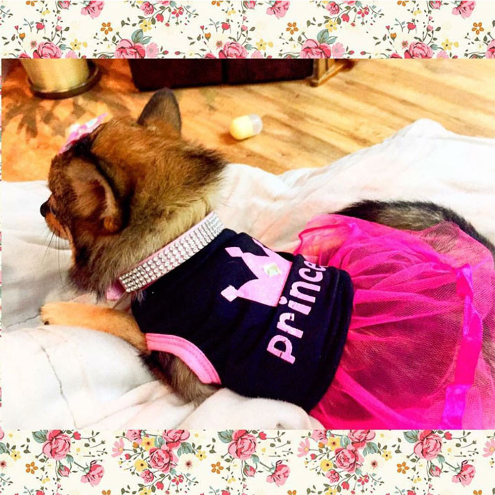 Cute Stylish Lace-edge Dog Princess Skirt Lovely Pet Dress Apparel for Small Dogs L