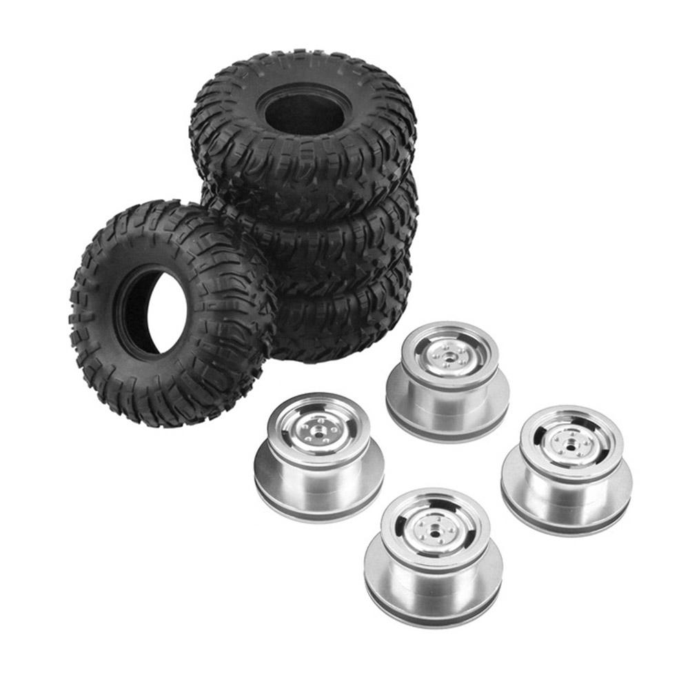 4PCS MN model Metal Beadlock Wheel Rim & Rubber Tires Set for MN45 D90 91 96 99 99S 99A 1/12 Rc Car Mode Silver_4PCS