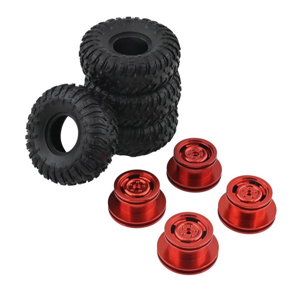 4PCS MN model Metal Beadlock Wheel Rim & Rubber Tires Set for MN45 D90 91 96 99 99S 99A 1/12 Rc Car Mode red_4PCS
