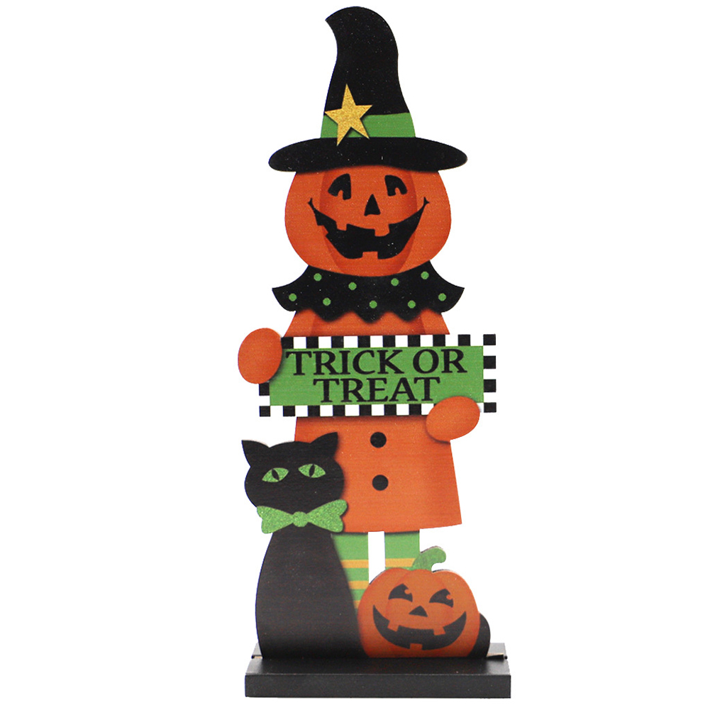 Wooden Decoration Halloween Pumpkin Man Witch Home Table Crafts JM02005