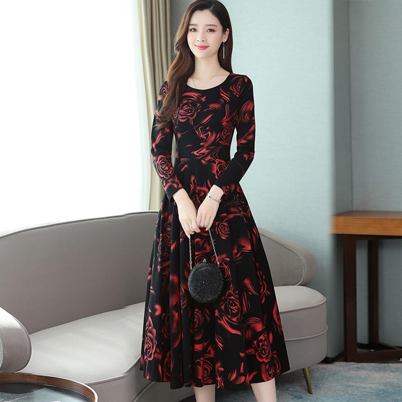 Women Plus Size Midi Dress Printing Floral Crew Neck Knee Length Long Sleeve Dress red_L