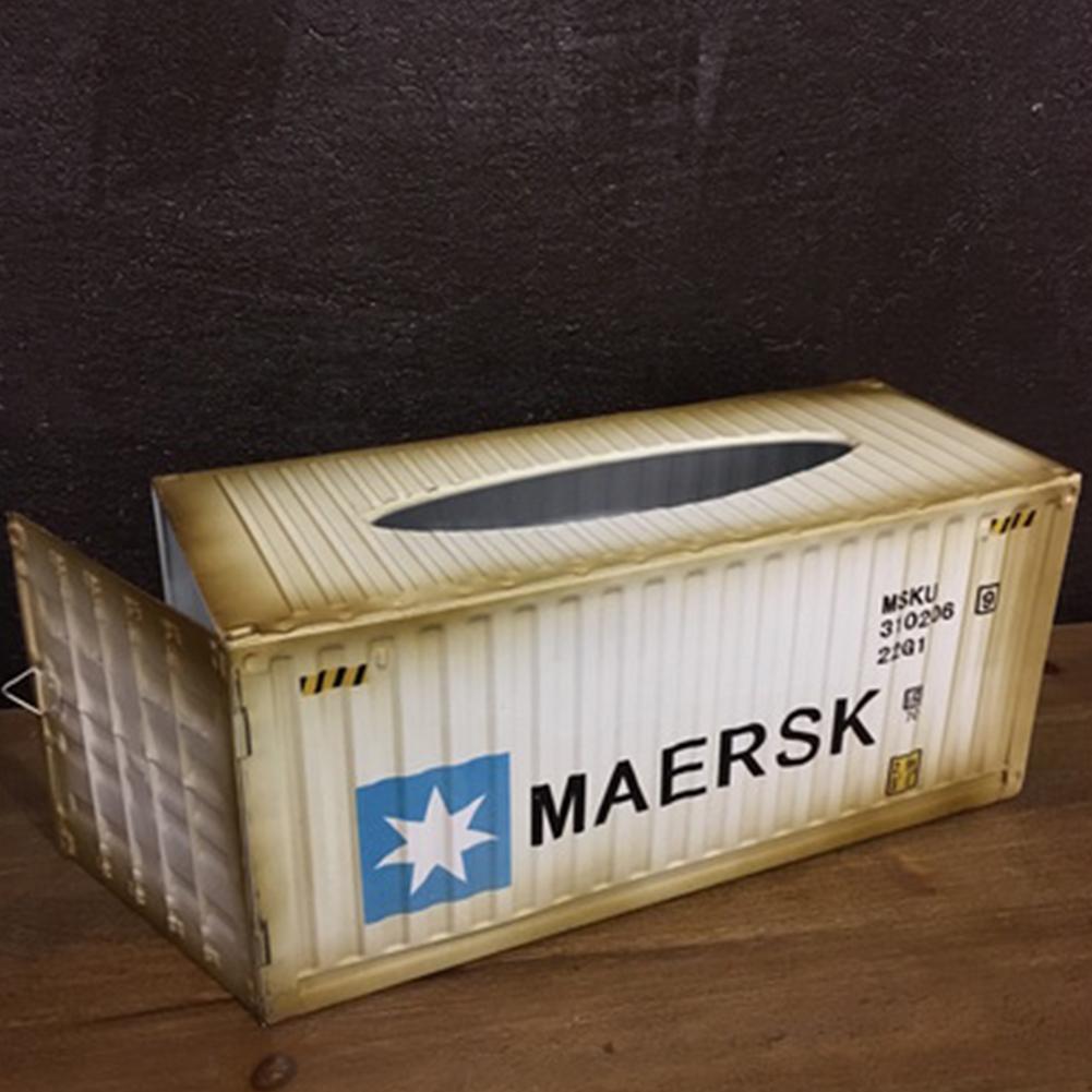 Retro Tabletop Iron Tissue Box for Home Living Room Car Storage Decoration White MEEK